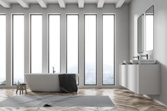Side view of double sink white bathroom with tub. Loft white bathroom corner with a wooden floor, a white tub, a small chair and a double sink with mirrors above stock illustration