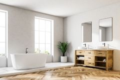 Loft white luxury bathroom corner, tub and sink. Loft white wall luxury bathroom corner with a wooden floor, a white bathtub, and a double vessel sink. 3d royalty free illustration