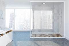 Loft white luxury bathroom interior, shower, sink. White tile luxury bathroom interior with a concrete floor, a double vessel sink and a glass wall shower stall royalty free illustration