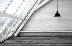 Loft window. Room with ceiling lamp and window Royalty Free Stock Photos