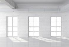 Loft with window. White brick loft with window Royalty Free Stock Image
