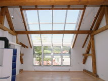Loft Windows and Sky Lights. Windows and skylight in modern open loft Stock Images