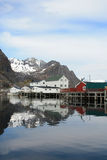 Lofts of Hamnoy's harbour   mirroring Stock Photo