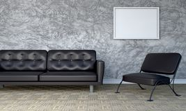 Loftstyle leather sofa and chair 3D rendering Stock Photography