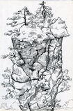 Lofty mountain with trees on top. Lofty mountain with pine trees on top. Ink drawn sketch Royalty Free Stock Photos