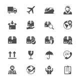 Logística e ícones lisos de envio Fotos de Stock