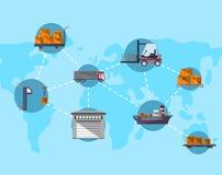 Logística e conceito mundial do transporte Imagem de Stock