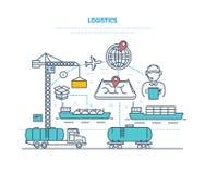 logística Entrega da organização, transportando a carga, selecionando o transporte, rota de aperfeiçoamento ilustração stock