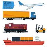Logística fijada iconos del transporte de la carga del vector Imagen de archivo libre de regalías