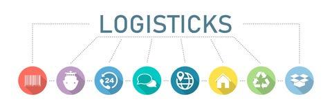 logística Jogo dos ícones Processos modernos da logística da empresa Logística da bandeira com ícones coloridos do vetor imagens de stock