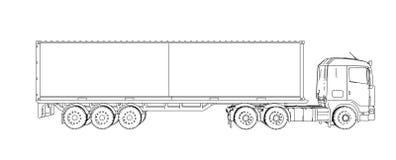 Logístico en camión del envase ilustración del vector