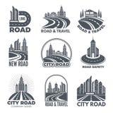 Logów projekty z ilustracjami drogi i budynki ilustracja wektor