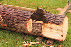 Log With Antique Axes Stock Image
