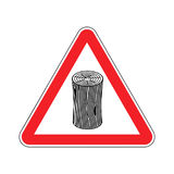 Log Attention sign. Wooden billet Caution. Road red warning symb Stock Image