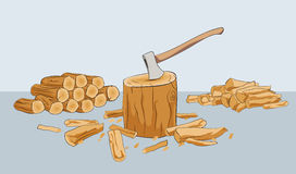 Firewood logs. Chopped firewood logs with stump and axe Stock Photo