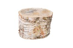 Log from a birch isolated on white background Stock Photography