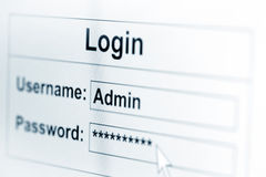 Log-in box on computer screen Royalty Free Stock Image