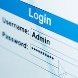 Log-in box on computer screen Royalty Free Stock Photography