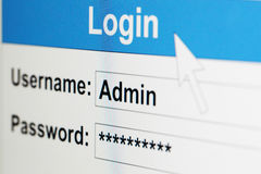 Log-in box on computer screen Stock Photography