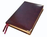 The daily log from a brown genuine leather on white Stock Images