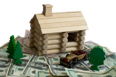Free Log Building Model And Money Royalty Free Stock Image - 5346796