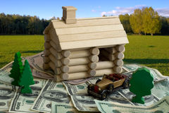 Log building model and money Stock Image