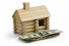 Log building model and money Royalty Free Stock Photography