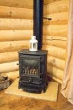 Log Burner in Log Cabin Royalty Free Stock Photos