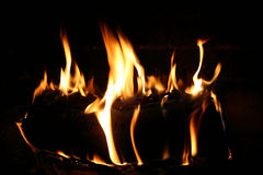 Log burning with fire. A solo log burning with a yellow orange flame. Background is black royalty free stock photos