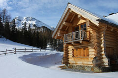 Log cabin. New log-cabin in winter mountains, Upper Austria Stock Photos
