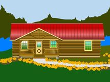 Log Cabin. Near the lake ready and waiting for vacation fun Royalty Free Stock Images