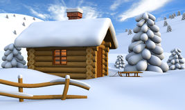 Log cabin. 3D illustration of a cute little wooden hut in the middle of snowy countryside Royalty Free Stock Image