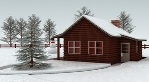Log cabin. In forest with snow vector illustration