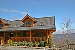 Log Cabin. In the mountains with a view Stock Image