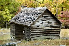 Log cabin. At Ogle Farm, Roaring Fork, Great Smoky Mountains National Park Royalty Free Stock Image