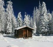 Log Cabin. Cozy Log Cabin Snowy in Arizona Winter Stock Photography
