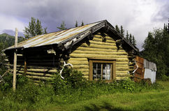 Log cabin Alaska Stock Photo