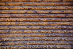 Log Cabin Or Barn Unpainted Debarked Wall Textured Horizontal Background With Copy Space.  Royalty Free Stock Images