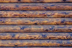 Log Cabin Or Barn Unpainted Debarked Wall Textured Horizontal Background With Copy Space.  Royalty Free Stock Photos