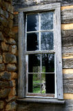 Log Cabin Broken Window Detail Stock Images
