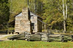 Log Cabin, Cades Cove, Great Smoky Mountains. John Oliver Cabin, rustic appalachian mountain cabin, Great Smoky Mountains National Park Royalty Free Stock Images