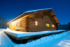 Log Cabin, Canada. This image shows a log cabin in the snow, Canada Royalty Free Stock Photo