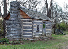 Log Cabin & Cannon Royalty Free Stock Photography