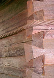 Log cabin corner wall. Detailed view of the corner of a log cabin wall Royalty Free Stock Images