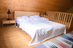 Log cabin cozy rustic interior view Stock Photography