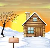 Log cabin and dead tree. Illustration of a log cabin and dead tree on a snowy field vector illustration