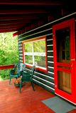 Log cabin deck Royalty Free Stock Photos