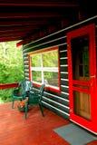 Log cabin deck royalty free stock photos