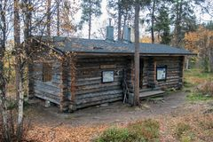 Log Cabin in in Deep Taiga Forest Royalty Free Stock Image