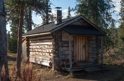 Log Cabin in in Deep Taiga Forest Royalty Free Stock Photo
